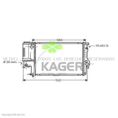 Radiador, refrigeración del motor KAGER: 310141